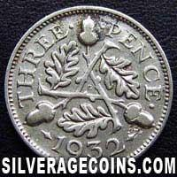 "1932 George V British Silver ""Oak Reverse"" Threepence"