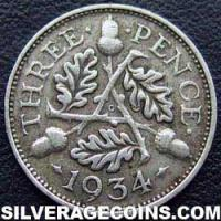 "1934 George V British Silver ""Oak Reverse"" Threepence"