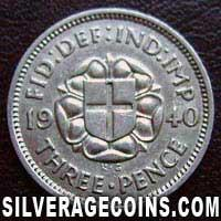 1940 George VI British Silver Threepence
