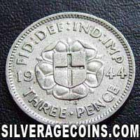 1944 George VI British Silver Threepence