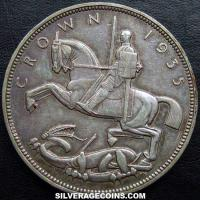 1935 George V British Silver Crown (art deco)