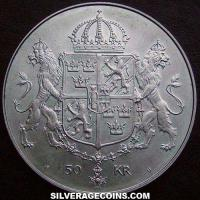 ND (1976) U Carl XVI Gustaf Swedish Silver 50 Kronor (Royal Wedding)