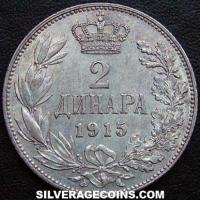 1915 (a) Peter I Serbia Silver 2 Dinara (type 3, without designers name)