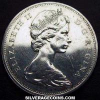 1965 small beads pointed 5 Elizabeth II Canadian Silver Voyageur Dollar