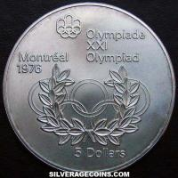 1974 Canadian Silver 5 Dollars (1976 Montreal Olympics)