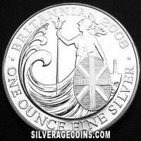 2008 2 Pounds 1 Ounce Silver Britannia (Wave)