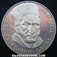 1977 J German Federal Republic Silver 5 Marks (Carl Friedrich Gauss)