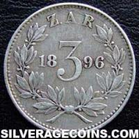 1896 South African ZAR Silver Threepence