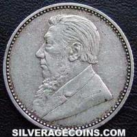 1897 South African ZAR Silver Sixpence