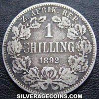 1892 South African ZAR Silver Shilling