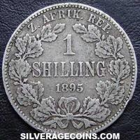 1895 South African ZAR Silver Shilling