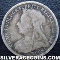 "1895 Queen Victoria British Silver ""Widow Head"" Threepence"