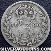 "1896 Queen Victoria British Silver ""Widow Head"" Threepence"