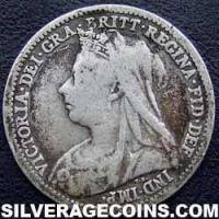 "1898 Queen Victoria British Silver ""Widow Head"" Threepence"