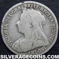 "1900 Queen Victoria British Silver ""Widow Head"" Threepence"