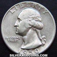 1950D United States Washington Silver Quarter