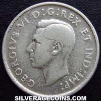 1946 George VI Canadian Silver 25 Cents