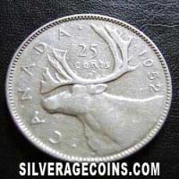 1952 George VI Canadian Silver 25 Cents