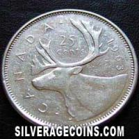 25 Céntimos de Plata Canadienses de Isabel II de 1963