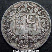 "1890 Queen Victoria British Silver ""Jubilee Head"" Half Crown"