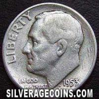 1953 United States Silver Roosevelt Dime 10 Cents