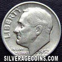 1952D United States Silver Roosevelt Dime 10 Cents