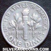 1957D United States Silver Roosevelt Dime 10 Cents