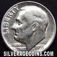 "1955 S United States ""Roosevelt Dime"" Silver 10 Cents"