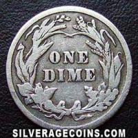 1908 United States Silver Barber Dime 10 Cents