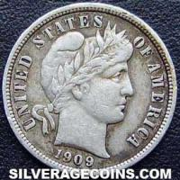 1909 United States Silver Barber Dime 10 Cents