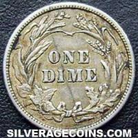 1910 United States Silver Barber Dime 10 Cents