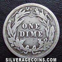 1911 United States Silver Barber Dime 10 Cents