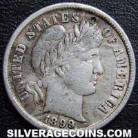 1899 United States Silver Barber Dime 10 Cents