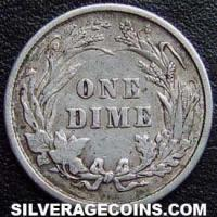 "1899 United States ""Barber Dime"" Silver 10 Cents"