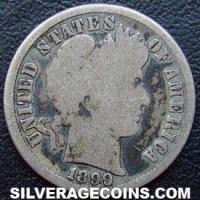 1899 S United States Silver Barber Dime 10 Cents