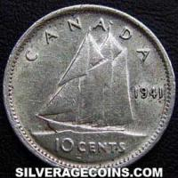 "1941 George VI Canadian Silver ""Dime"" 10 cents"