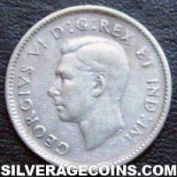"""1944 George VI Canadian Silver """"Dime"""" 10 cents"""