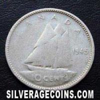 "1945 George VI Canadian Silver ""Dime"" 10 cents"