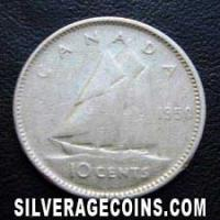 "1950 George VI Canadian Silver ""Dime"" 10 Cents"
