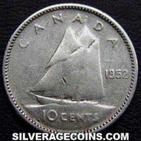 "1952 George VI Canadian Silver ""Dime"" 10 Cents"