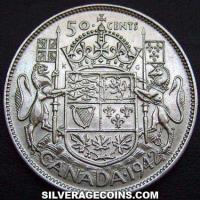 1942 George VI Canadian Silver 50 Cents