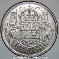 1943 George VI Canadian Silver 50 Cents