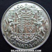 1950 lines 0 George VI Canadian Silver 50 Cents