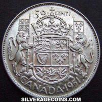 1951 George VI Canadian Silver 50 Cents