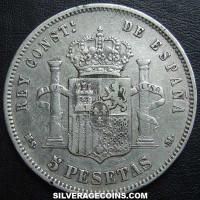 1885(87) MS-M Alfonso XII Spain Silver 5 Pesetas