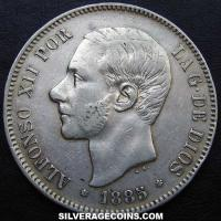 1885(87) MP-M Alfonso XII Spain Silver 5 Pesetas