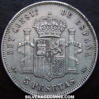 1888(88) MP-M Alfonso XIII Spain Silver 5 Pesetas