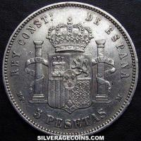 1890(90) MP-M Alfonso XIII Spain Silver 5 Pesetas