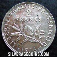 1916 French Silver 2 Francs