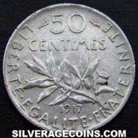 1917 French Silver 50 Cents